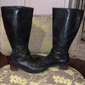 Coach Carolina Black Riding Boots, Wide Calf